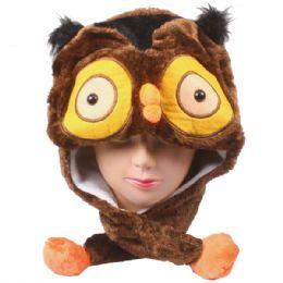 36 Units of Cute Owl Character Earmuff Animal Hat - Winter Animal Hats