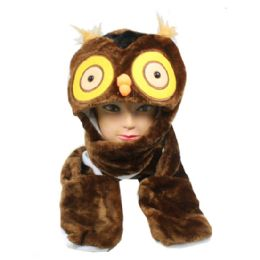 24 Units of Cute Plush Owl Character Builtin Paws Mittens Animal Hat - Winter Animal Hats