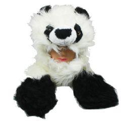12 Units of Faux Fur Panda Animal Character Builtin Paws Mittens Hat - Winter Animal Hats