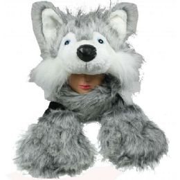 12 Units of Soft Faux Fur Husky Animal Character Builtin Paws Mittens Hat - Winter Animal Hats