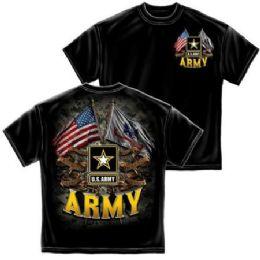 10 Units of T-Shirt 002 Double Flag Us Army Black Medium Size - Boys T Shirts