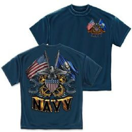 10 Units of T-Shirt 006 Double Flag Eagle Shield Navy Blue Medium Size - Boys T Shirts
