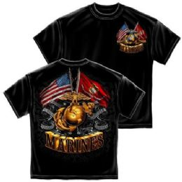 6 Units of T-Shirt 013 Double Flag Gold Globe Marine Corps Small Size - Boys T Shirts