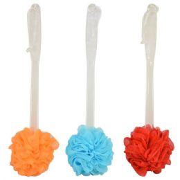 48 Units of Bath Pouf W/ Handle Astd. Colors - Shower Caps