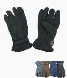 72 Units of Men's Fleece Winter Gloves Assorted Colors - Fleece Gloves