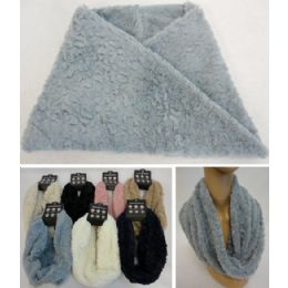 48 Units of Leopard Pattern Plush Infinity Scarf - Winter Scarves