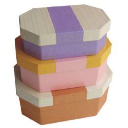 384 Units of Gift Box Octagon 3pcs Astd Colors - Jewelry Box