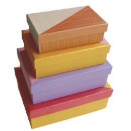 384 Units of Gift Box Rectangular 4pcs Ast Colors - Jewelry Box