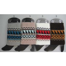 12 Units of Wholesale Aztec Design Short Boot Topper Assorted Colors - Womens Leg Warmers