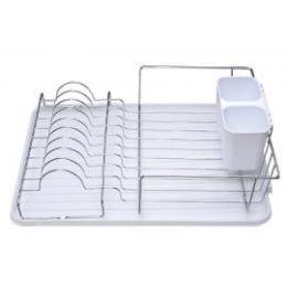 6 Units of Deluxe Chrome Dish Drainer White - Dish Drying Racks