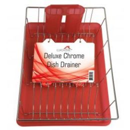 """6 Units of Deluxe Chrome Dish Drainer - Red 19"""" X 12"""" X 3.5"""" - Dish Drying Racks"""
