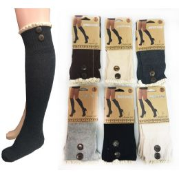 12 Units of Wholesale Long Over The Knee Stocking Button Lace Trim Assorted - Womens Knee Highs
