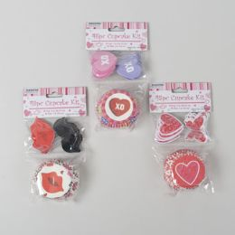 96 Wholesale Back Baking Cup Kit Valentine 3 Asst Colors
