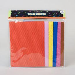 72 Units of 6ct Foam Sheets W/embossed Patterns/colors - Foam & Felt