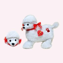 """Wholesale Valentines 12"""" White Poodle With Red Bow"""