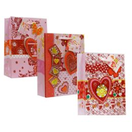144 Units of Valentine X-Large Size Assorted Gift Bag - Valentine Gift Bag's