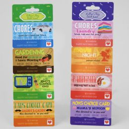 48 Wholesale Debit/coupon Card Mother/fathers Day 2ast W/4 Detachable Coupons W/perforated Header