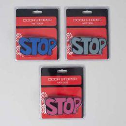"36 Wholesale Door Stopper ""stop"" Shaped 3ast Colors 4.8x2.2in Blstr Card"