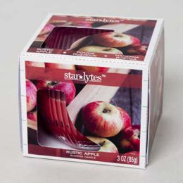 48 Bulk Candle Scented 3 Oz Window Boxed Rustic Apple