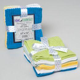 24 Units of Wash Cloths 6pk 12 X 12 Ribbed/ Popcorn W/ribbon Tie Asst Colors See n2 - Bath Towels