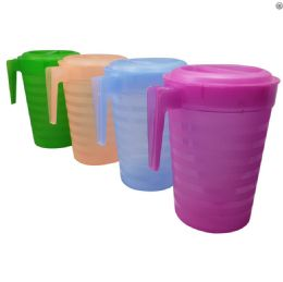 36 Units of Pitcher 128 Oz With Lid Astd - Plastic Drinkware