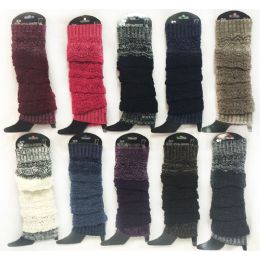 12 Units of Wholesale Knitted Long Boot Topper MultI-Layer Assorted Colors - Womens Leg Warmers