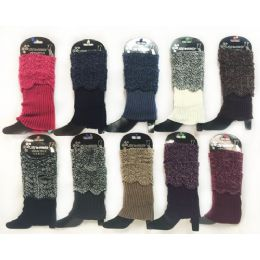 12 Units of Wholesale Knitted Short Boottopper Crochet Pattern Assorted Color - Womens Leg Warmers