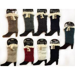 12 Units of Wholesale Knitted Boot Topper With Buttons Lace Leg Warmer - Womens Leg Warmers