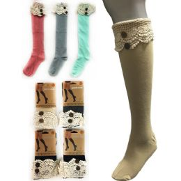 12 Units of Wholesale Solid Color Knee High Stocking With Lace With Buttons - Womens Knee Highs