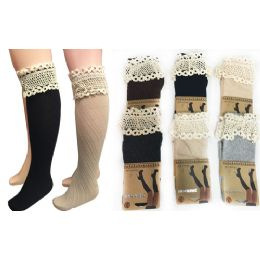 24 Units of Wholesale Long Over The Knee Stocking With Lace Trim Assorted - Womens Knee Highs