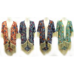 12 Units of Multicolor Flower Print Coverup With Fringes - Women's Cover Ups
