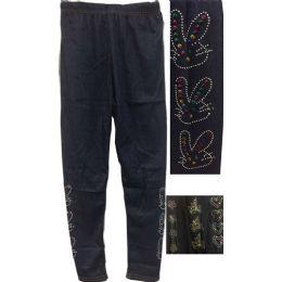 12 Units of Dark Jean Colored Kids Leggings With Decors - Girls Leggings