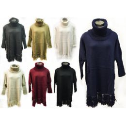 12 Units of Wholesale Knitted Turtle Neck Sweater Dress/poncho - Winter Pashminas and Ponchos