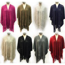 12 Units of Wholesale Knitted Multi Patterned Wraps Multi Purpose Ponchos Ast - Winter Pashminas and Ponchos