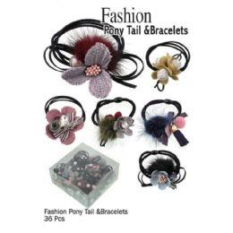36 Units of Fashion Pony Tails & Bracelts - PonyTail Holders