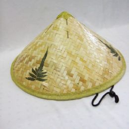 24 Units of Mens Bamboo Straw Hat In Beige With Leaves Print - Sun Hats