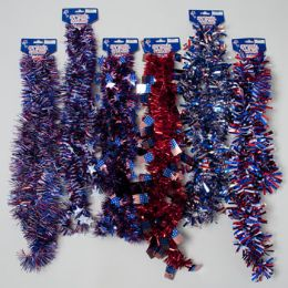 96 Units of Garland Tinsel Patriotic - 4th Of July