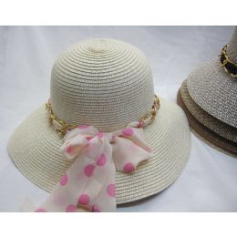 24 Wholesale Ladies Summer Sun Hat With Polka Dot Ribbon And Chain