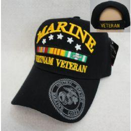 12 Wholesale Licensed Marines Hat [vietnam Veteran] *black Only
