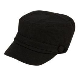 24 Wholesale Solid Black Military Cadet Hat