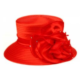 12 Units of Fascinator With Big Flower Trim In Red - Church Hats