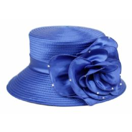 12 of Fascinator With Big Flower Trim In Royal