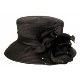 12 Units of Fascinator With Big Flower Trim In Black - Church Hats