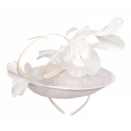 12 of Sinamay Fascinator With Flower On The Top In White
