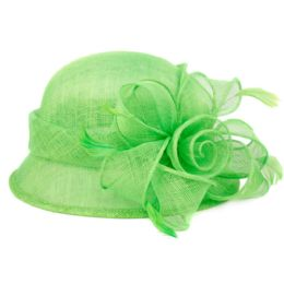 12 Units of Sinamay Fascinator With Big Flower Trim In Green - Church Hats