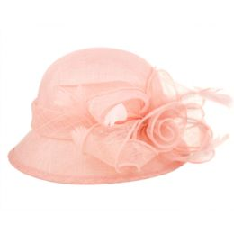 12 Units of Sinamay Fascinator With Big Flower Trim In Pink - Church Hats