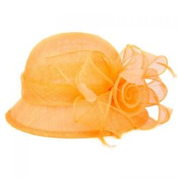 12 Units of Sinamay Fascinator With Big Flower Trim In Orange - Church Hats