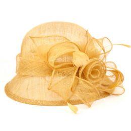 12 Units of Sinamay Fascinator With Big Flower Trim In Khaki - Church Hats