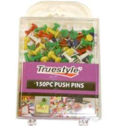 96 Wholesale 150 Piece Push Pins In Plastic Case