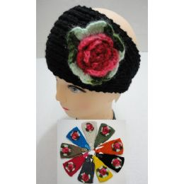 48 Units of Hand Knitted Ear Band W/ Multicolor Flower - Ear Warmers